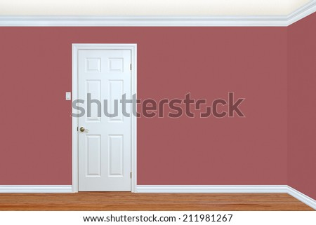 Bedroom wall and corner with door, baseboard and crown molding with room for text