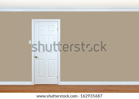 Bedroom wall with door, baseboard and crown molding with room for text