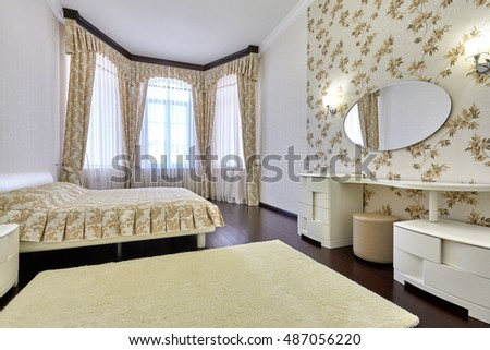bedroom with a beautiful interior. Luxury Bed Large Neoclassical Bedroom Decorative Stock
