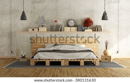 Bedroom with concrete wall, pallett bed and vintage objects on shelf - 3D Rendering - stock photo