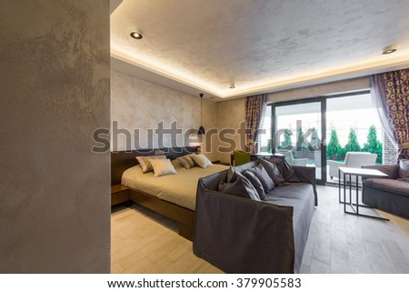bedroom double bed living room hotel stock photo 379905583