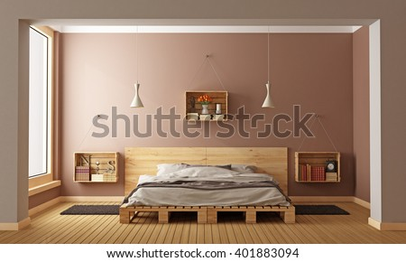 Bedroom with pallet bed and wooden crates used as nightstands - 3D Rendering - stock photo