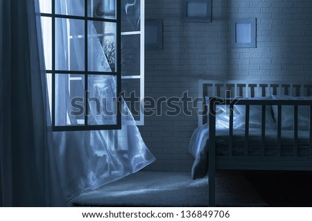Bedroom with the window open and the breeze on a moonlit night. Bedroom Window Open Breeze On Moonlit Stock Photo 136849706