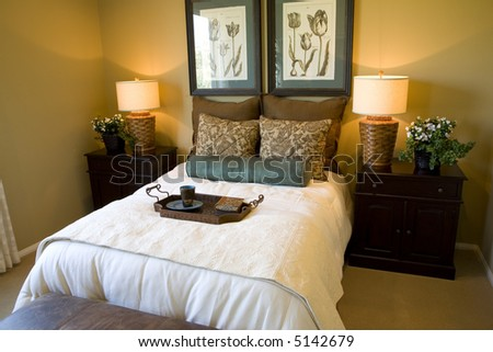 Bedroom with warm lighting
