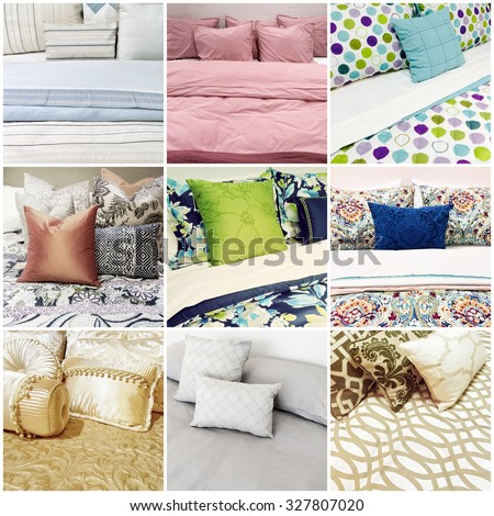 Beds with different styles of bed linen. Collage of nine photos.