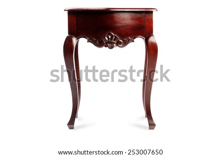 bedside table isolated on a white background, wood carving, mahogany - stock photo