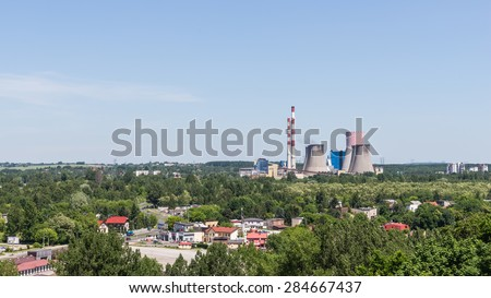 BEDZIN, POLAND - JUNE 05, 2015: Power and heating plant Lagisza operated by TAURON PKE SA. The unit has over 17% share in domestic electricity production and 16% in heat production on the local market
