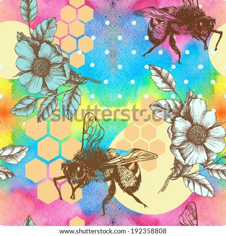 Bee, honey and roses. Hand drawn raster seamless pattern. - stock photo