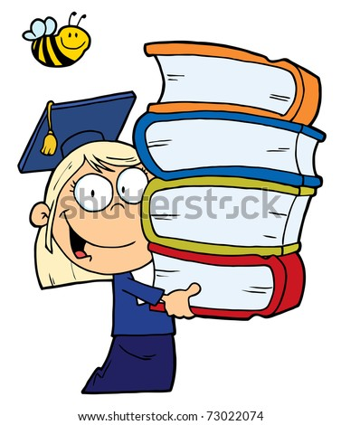 Bee Over A Blond Graduate School Girl Carrying A Stack Of Books