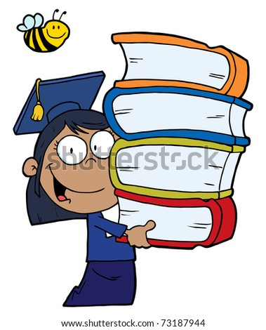 Bee Over An African American Graduate School Girl Carrying A Stack Of Books - stock photo