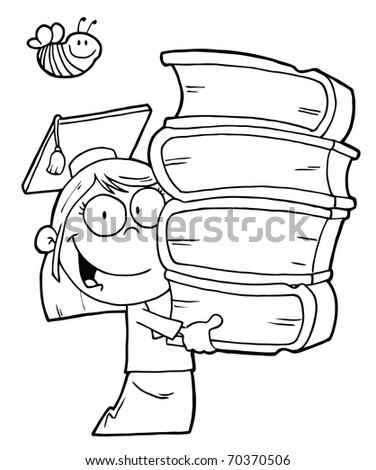 Bee Over An Outlined Graduate School Girl Carrying A Stack Of Books - stock photo