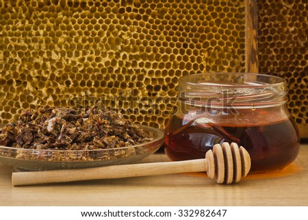 Bee propolis and honey delicious, useful and medicinal products