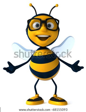 Bee with glasses - stock photo