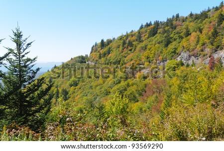 Beech Gap curve on the Blue Ridge Parkway - stock photo