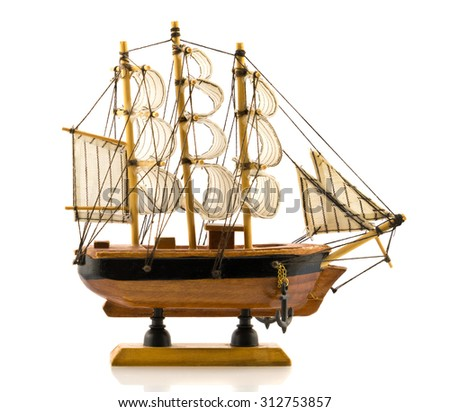 Beech wood carved model of hand made frigate