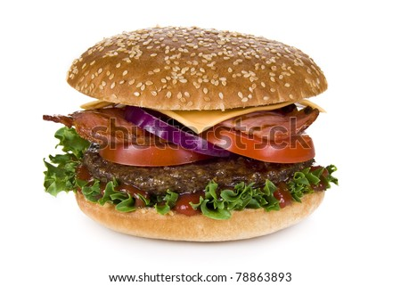 Beef and bacon burger isolated over white background - stock photo