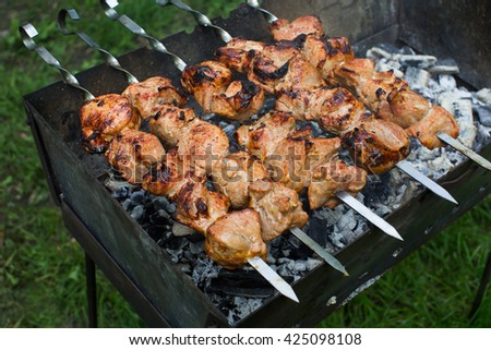 Beef and pork barbecue, steak on the grill. Kebab on a skewer. Nature. - stock photo