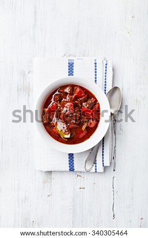 Beef and red pepper goulash - stock photo