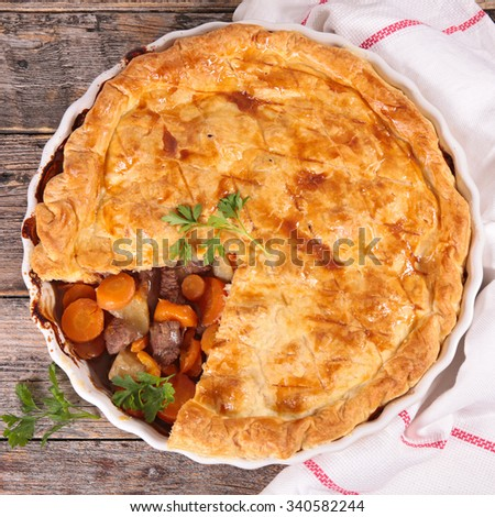 beef and vegetable pie - stock photo