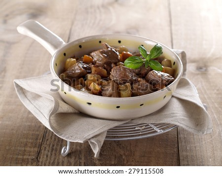 Beef and vegetables goulash (or ragout), selective focus - stock photo