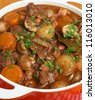 Beef bourguignon stew with shallots, mushrooms, lardons and carrots. - stock photo