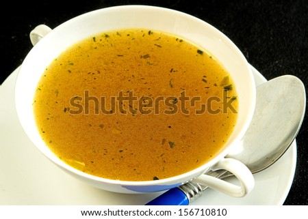 beef broth - stock photo
