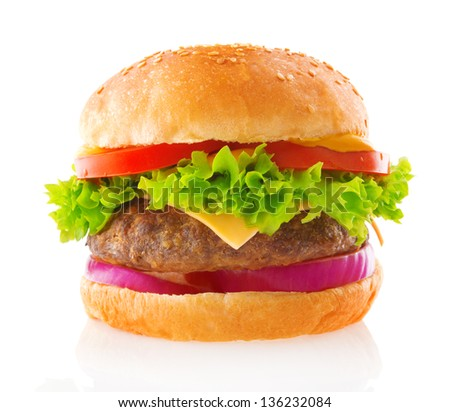 Beef burger isolated white background - stock photo