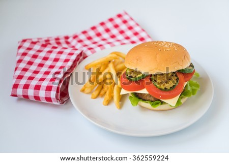 Beef burger with french fries