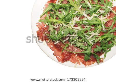 Beef carpaccio on withe background, isolated - stock photo