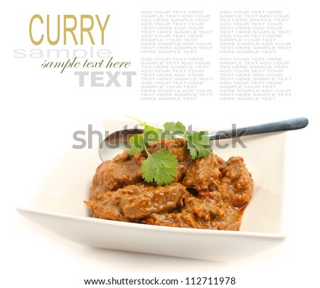 Beef Curry Isolated on white - stock photo