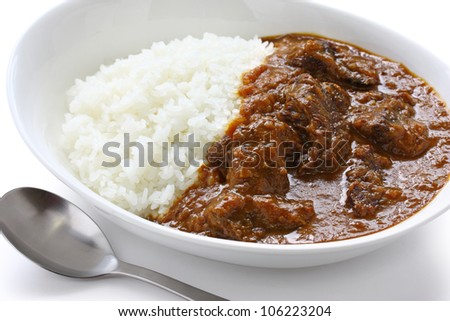 beef curry on rice, japanese food - stock photo