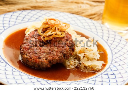beef cutlet with mashed potatoes and cabbage - stock photo