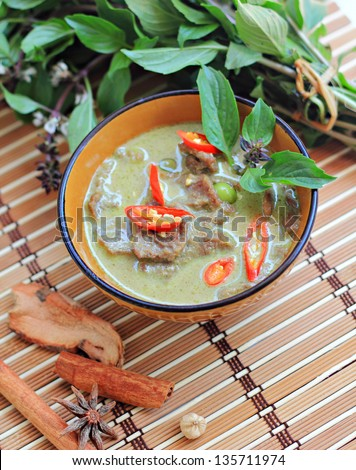 Beef green curry,Thai cuisine - stock photo
