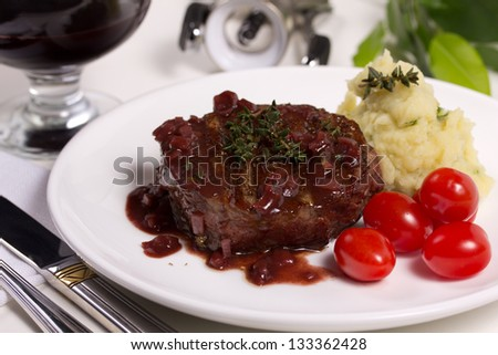 Beef in red wine. - stock photo