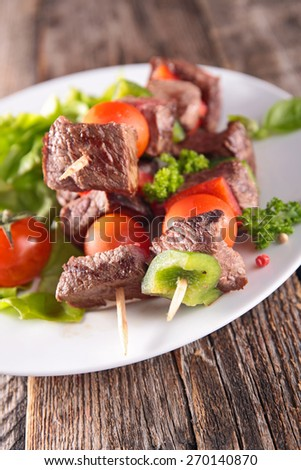 beef kebab, barbecue