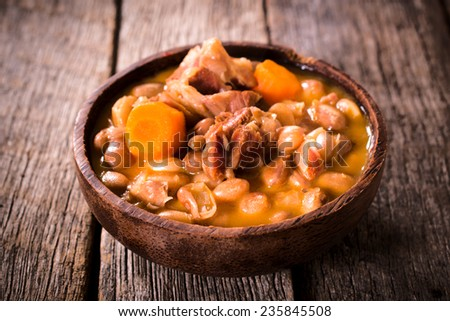 Beef meat and prepared beans,selective focus  - stock photo