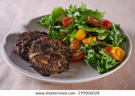beef meatballs and tomato salad