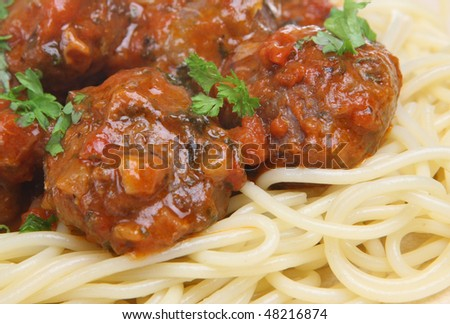 Beef meatballs with spaghetti