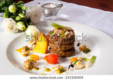 Beef Medallions With Cream Sauce. Photo, picture