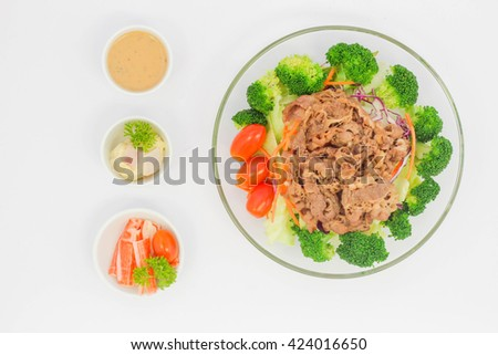 Beef Mixed chef's salad - stock photo