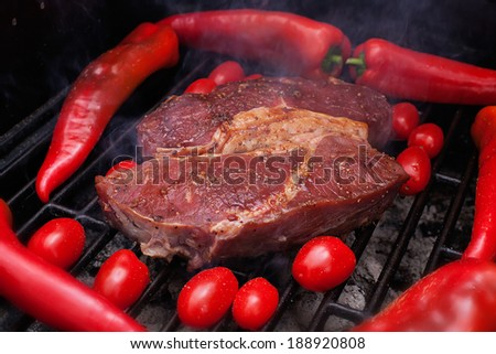 Beef on grill