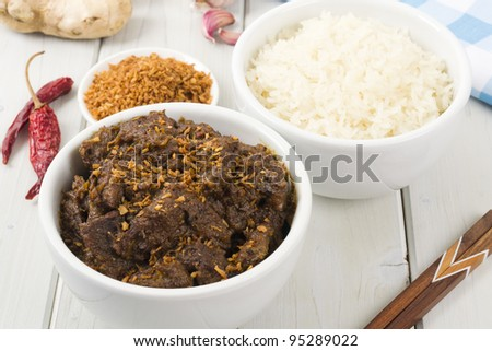 Beef Rendang Sticky Rice Malaysian Indonesian Spicy Dry Beef Stew With Coconut