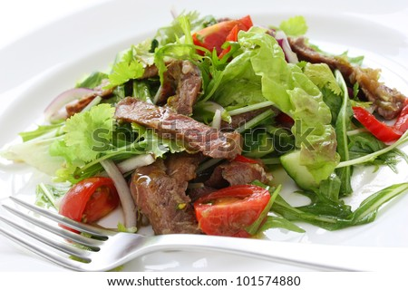beef salad - stock photo