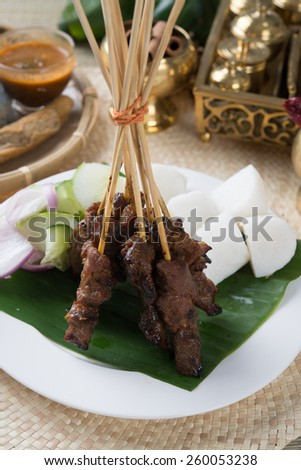 beef satay - stock photo
