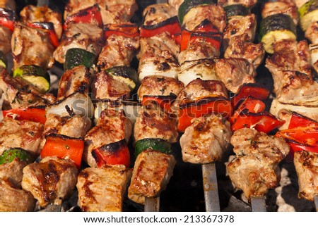 Beef shish kabobs on the grill. - stock photo