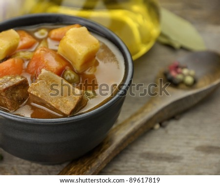 Beef Soup With Vegetables, Close Up Shot - stock photo