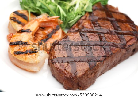 Beef steak and shrimp