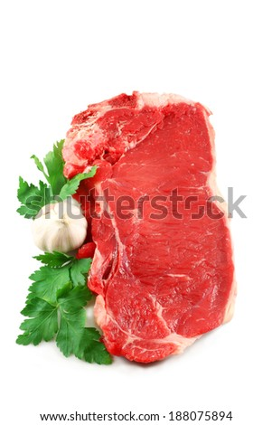 Beef steak isolated on white - stock photo