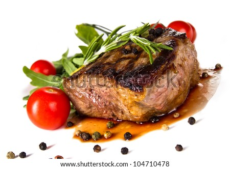 Beef steak medium grilled, isolated on white background - stock photo