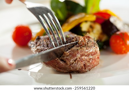 Beef Steak with BBQ Vegetables and Sauce - stock photo